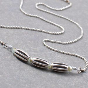 Silver Bar Necklace with Three Tubular Rice Beads